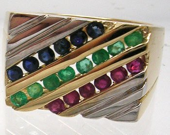 3811: 14KT/T .37 Ruby .36 Emerald .34 Sapphire Mens Rin