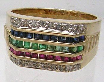 3812: 14KY .34 Sapphires .28 Rubies .23 Emeralds Mens R