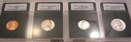 3823: 1957 4 coin PGS CERTIFIED set