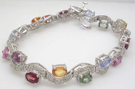 3884A: 14KW 9.49ct Multi-Sapphire 1.21ct Diamond Bracel