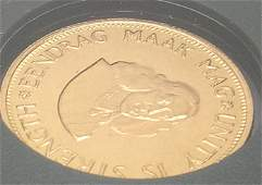 3943: 1973 TWO RAND South Africa . GOLD COIN