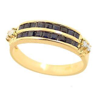 4401: 14Ky .82ct Sapphire princess 2 channel Diamond ri