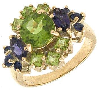 4402: 14KY 3.50CT Amethyst Peridot & Sapphire Ring