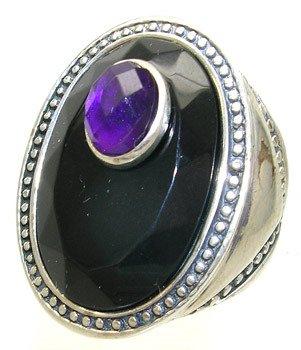 4406: SS Black Onyx .50ct checker-cut amethyst ring