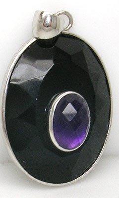 4407: SS Black Onyx 4ctct checker-cut amethyst pendant