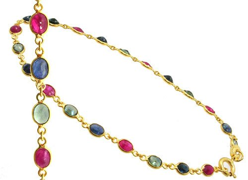 4412: 18KY 3cttw ruby multi sapphire bracelet 7inch