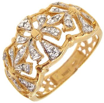 4415: 18KY Diamond antique style band ring