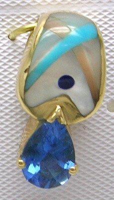 4417: 14KY Multi-Stone Inlay Sapphire pear Pendant