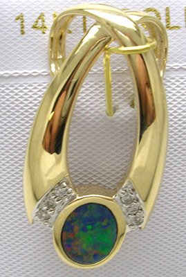 4419: 14KY Opal Oval Inlay Diamond Slide Pendant
