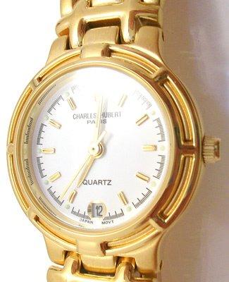 4820: Charles-Hubert gold plated white dial Ladies watc