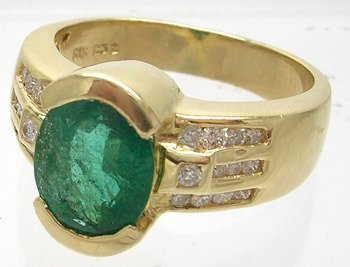 4860: 14ky 2.15ct Emerald Oval .26ct Diamond Ring APPRA