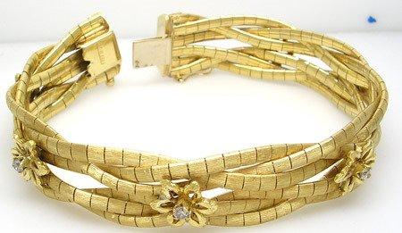 4863: 14KY Diamond Round 6 Braid Vintage Bracelet 48gra