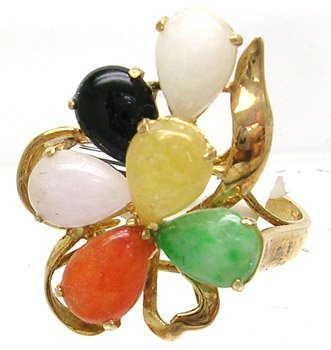 407: 14KY Multi-Color Jade Pear Ring