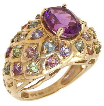 409: 10KY 1.50cttw Amethyst multi gem band ring