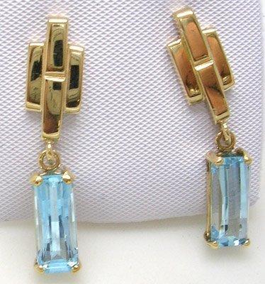 825: 14KY 5ct Blue Topaz Rectangle Dangle Earrings