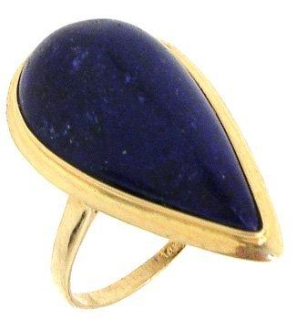 827: 14KY 21x10mm Lapis Lazuli Pear ring