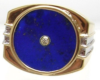 828: 14KY Lapis Circle Diamond Mens Double-Ribbed Ring