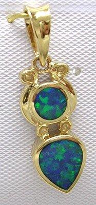 831: 14KY Opal Inlay Circle Pear Designer Pendant