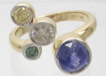 914: 14ky 1.80 Blue Sapphire .66tw Diamond Ring