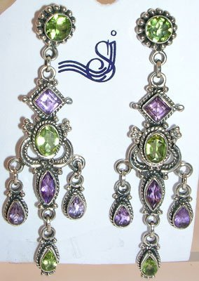662: SSilver Amethyst & Peridot Earrings