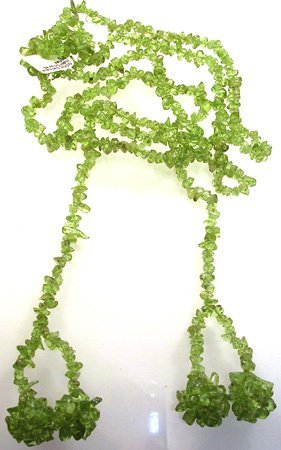 664: Necklace Peridot Chip Lariat 45inches