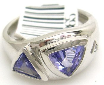 678: 14KW 1.52CT Tanzanite Trillion Diamond Ring