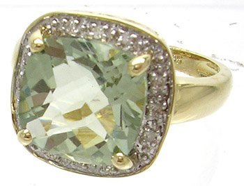 680: 14KY 4.2ct Green Quartz Cushion Diamond Ring