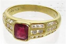 783: 18KYEstate 1.5ct Ruby Princess .75ct Diamond Ring