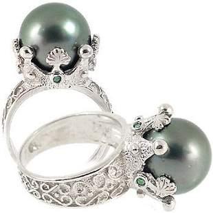 WG 12mm Tahitian Pearl .12cDia Crown Ring