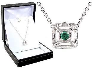 Platinum Green Diamond Pendant w/ Chain