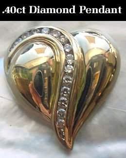 14kt .40ct Diamond Channel Heart Slide