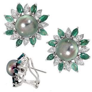 WG 8mm Black Pearl and Emerald earring