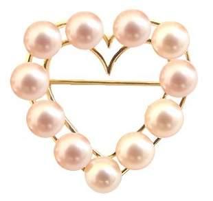 14kt 6mm Natural Pink 11 PEARLS Heart Pin