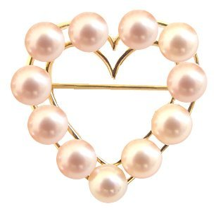 7: 14kt 6mm Natural Pink 11 PEARLS Heart Pin