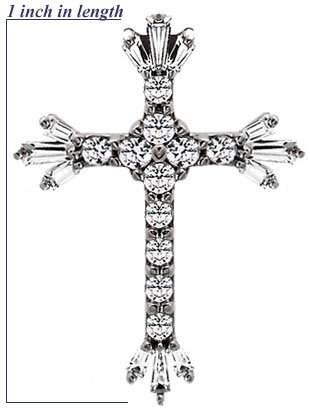 WG 2ct Cubic zirconia cross pendant