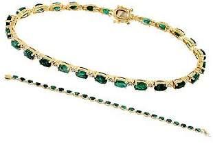 6.15ct Emerald 25 oval diamond bracelet 7