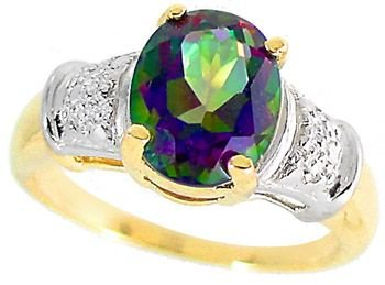 17: 3.75ct Mystic Topaz oval 2 tone Ring