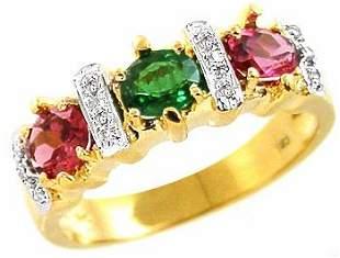 1.26ct Tsavorite Garnet & Rhodolite ring