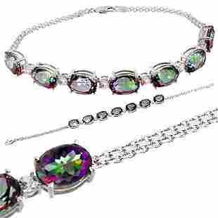 WG 4ct mystic topaz 1.35c Wt Sp bracelet
