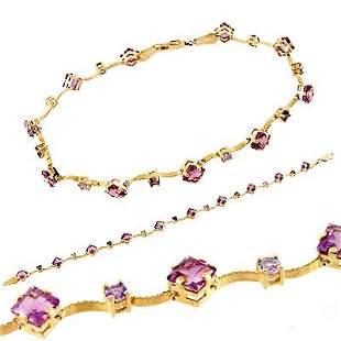 14kYG 4ctw Amethyst Tanzanite bracelet
