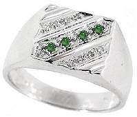 39: WG .15ct blue white diamond mans ring