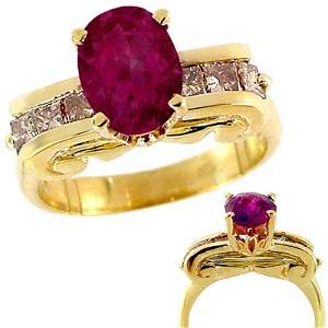 71: 2.30ct Pink Sapphire .60dia ionic ring