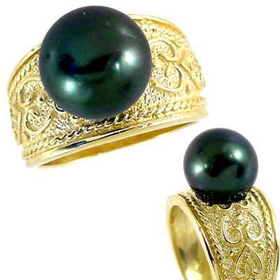 1003: 10mm Tahitian Pearl Etruscan style Ring