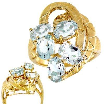 1005: 3.5ct Aquamarine 5 oval cluster // ring