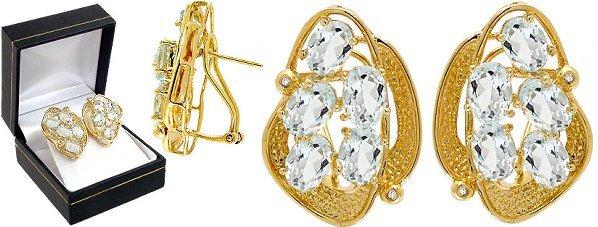 1008: 7ct Aquamarine 10oval cluster diamond e