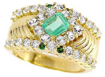 1009: .60ct Columbian Emerald Tsav/Wh Sapp ri