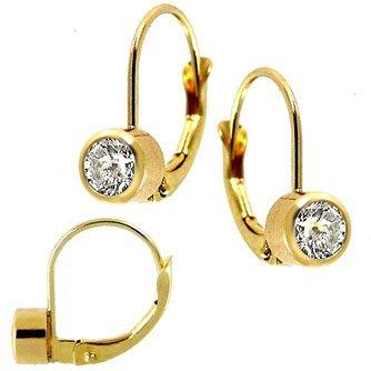 1011: 14k .50ct Diamond Bezel Leverback Earri