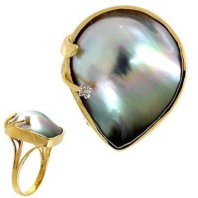 1014: Tahitian mabé pearl freeform diamond ri