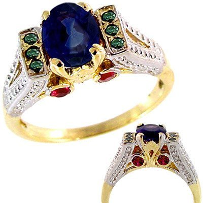 1016: 1.50ct sapphire ruby/dia Antique Style
