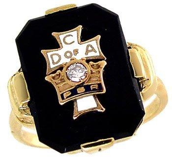 1023: 10KT Black Onyx Dia CD of A mans ring
